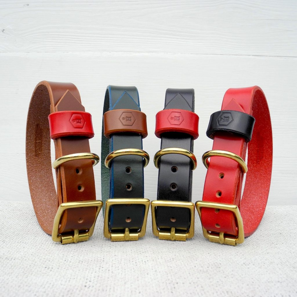 Monogram Brown Leather Dog Collar Personalised With Your Dog's Name - HOUNDWORTHY