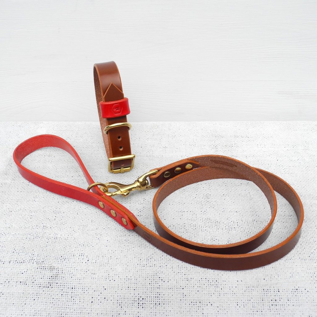 Monogram Brown Leather Dog Lead Plain - HOUNDWORTHY