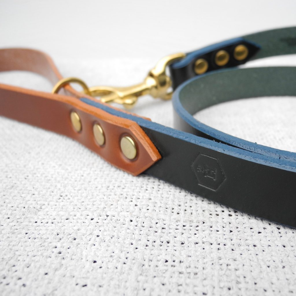 Monogram Green Leather Dog Lead Personalised With Your Dog's Name - HOUNDWORTHY