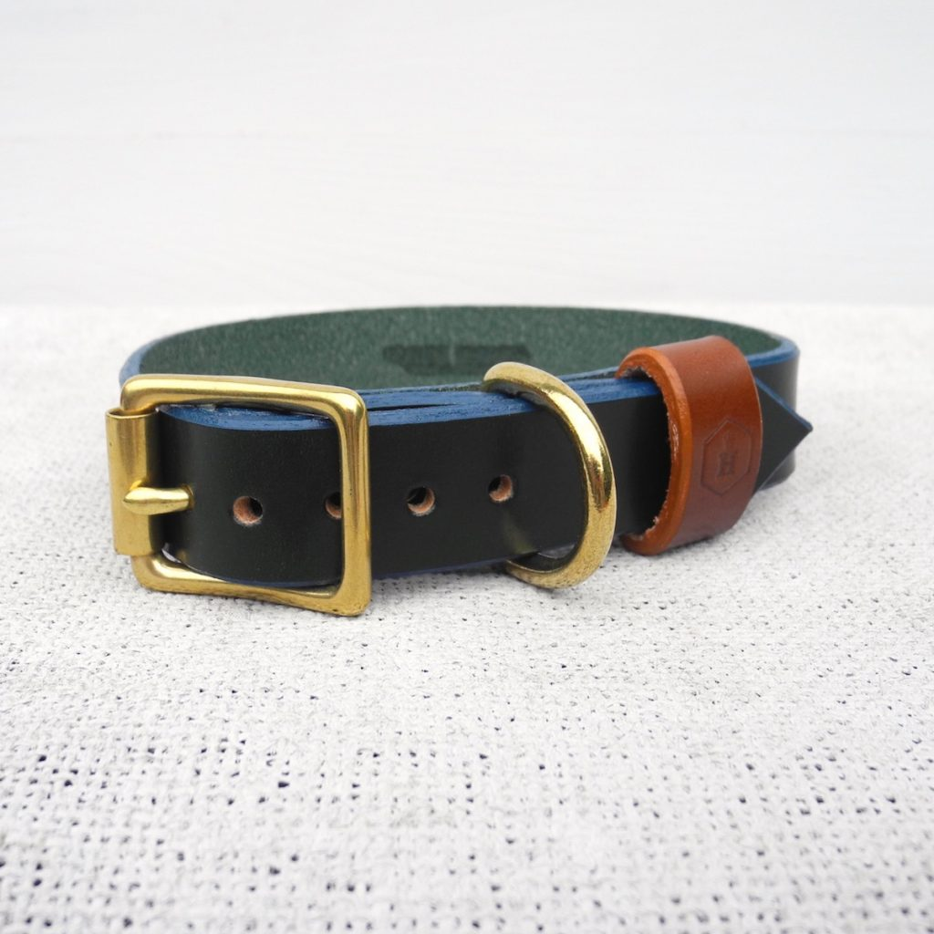 Monogram Green Leather Dog Collar Personalised With Your Dog's Name - HOUNDWORTHY