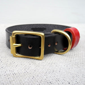 Monogram Black Leather Dog Collar Personalised With Your Dog's Name - HOUNDWORTHY