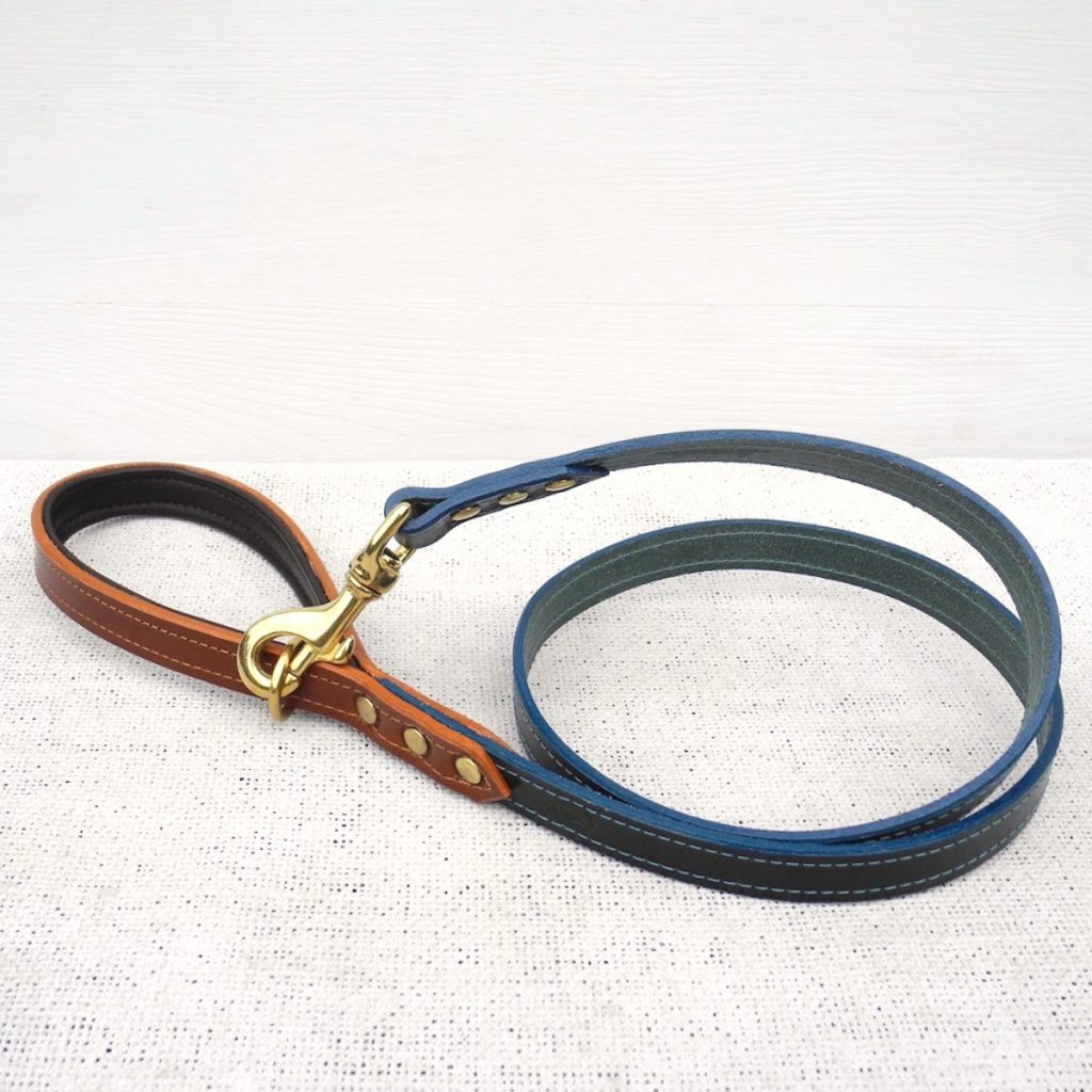 Green Bridle Leather Dog Lead With Padded Handle - HOUNDWORTHY
