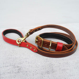 Monogram Brown Bridle Leather Dog Lead With Padded Handle - HOUNDWORTHY