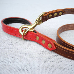Brown Bridle Leather Dog Lead With Padded Handle - HOUNDWORTHY