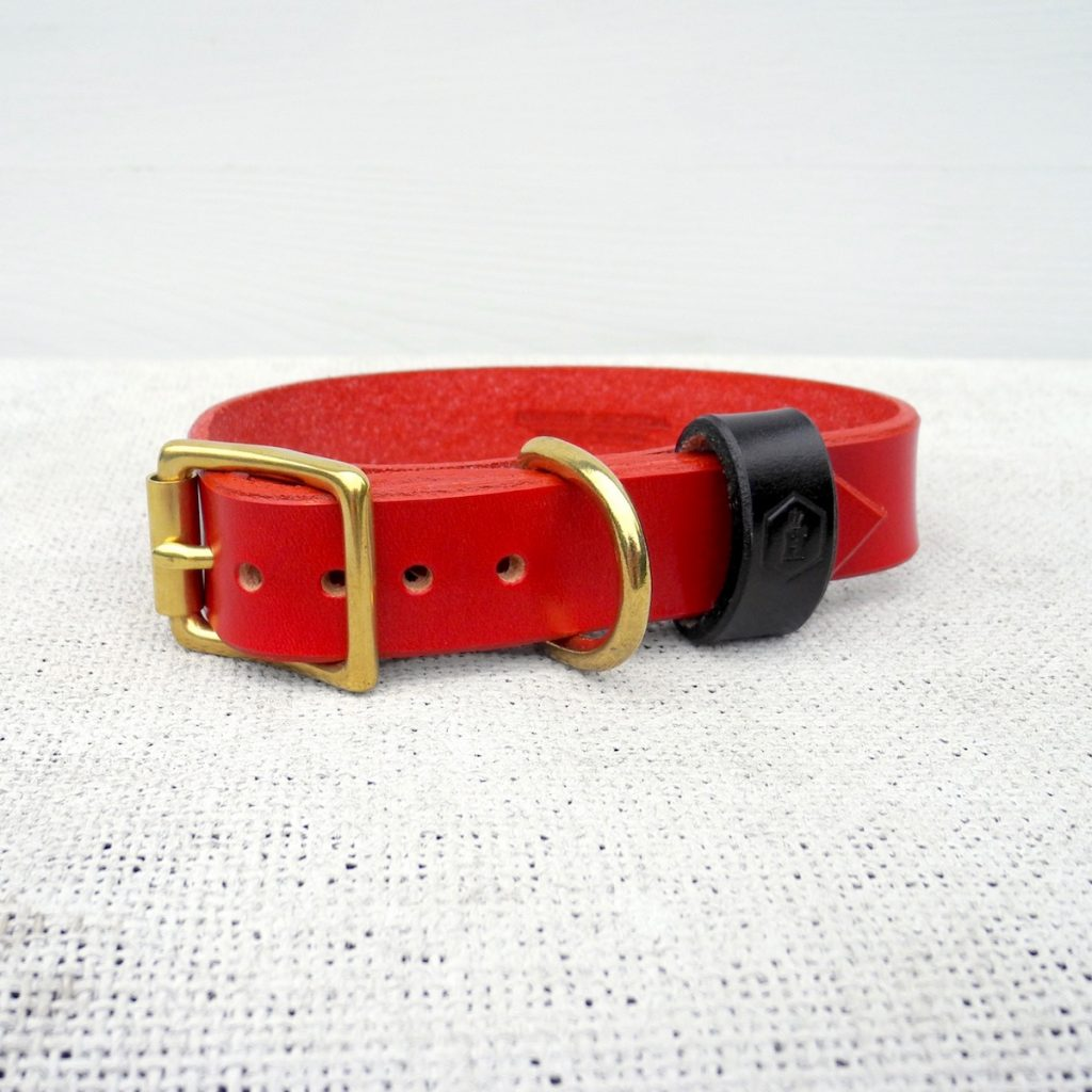 Monogram Red Leather Dog Collar Personalised With Your Dog's Name - HOUNDWORTHY