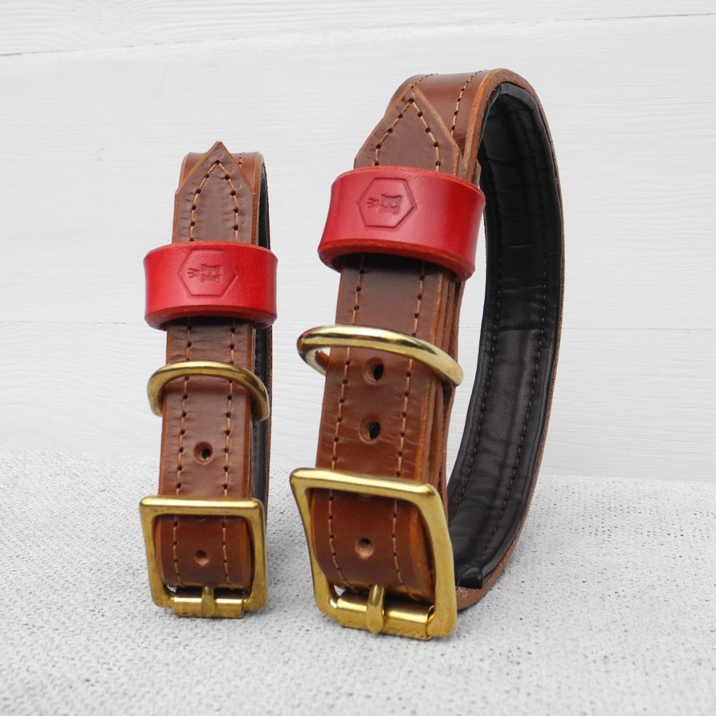 Luxury Brown Bridle Leather Dog Collar With Padded Lining - HOUNDWORTHY