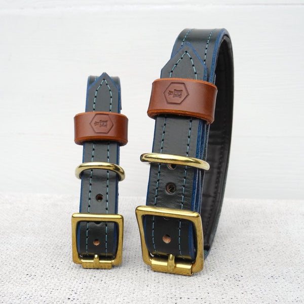 Luxury Green Bridle Leather Dog Collar Padded Lining