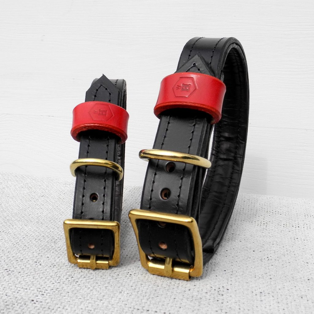 Luxury Black Bridle Leather Dog Collar With Padded Lining - HOUNDWORTHY