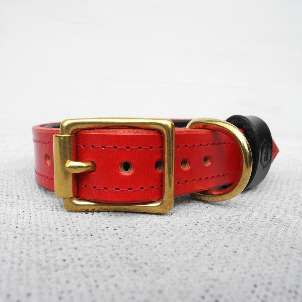 Luxury Red Bridle Leather Dog Collar With Padded Lining - HOUNDWORTHY