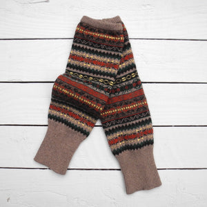 Fair Isle Forest Khaki Leg Warmers - HOUNDWORTHY