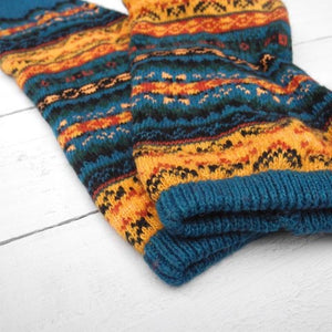 Fair Isle Arctic Teal Leg Warmers - HOUNDWORTHY