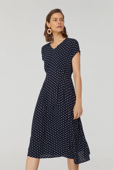 Nice Things - Bubbles Dot Print V Neck Midi Dress.  100% Viscose.  Navy print.