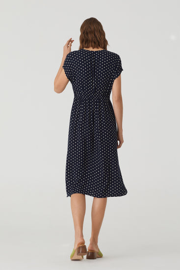 NICE THINGS - Bubbles Dot Print Midi Dress