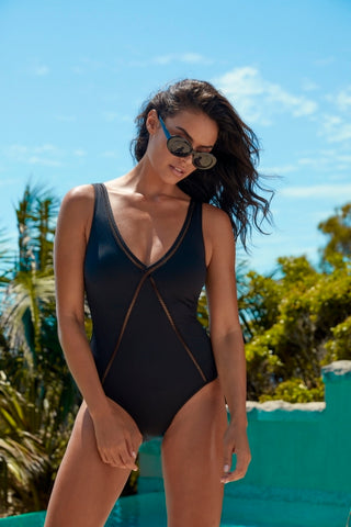 Sea Level - Essentials V Style Multifit one piece, Powermesh lining, lattice trim, removable soft cup and medium leg line.  Colours Black or Night Sky.