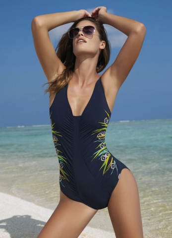 SUNFLAIR - French Leaf soft D cup ruched one-piece swimsuit