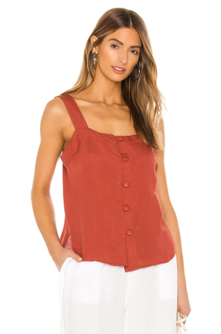 SEAFOLLY - Button Front Scarlet Top