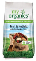 SNACK - ORGANIC FRUIT & NUT MIX WITH GOJI BERRIES - 200GMS
