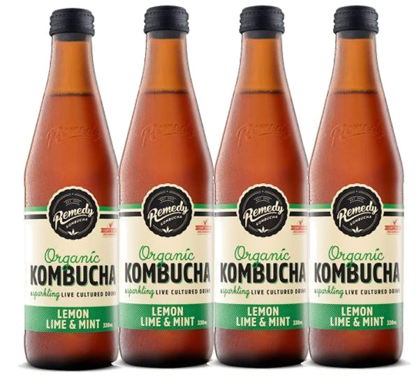 REMEDY ORGANIC KOMBUCHA - LEMON LIME & MINT - 4 X 330ML