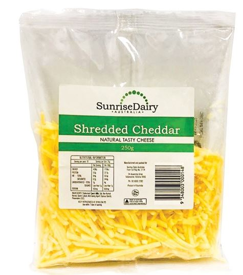 CHEESE - SUNRISE DAIRY - CHEDDAR - SHREDDED - 250GMS - Singapore Deli and Grocer