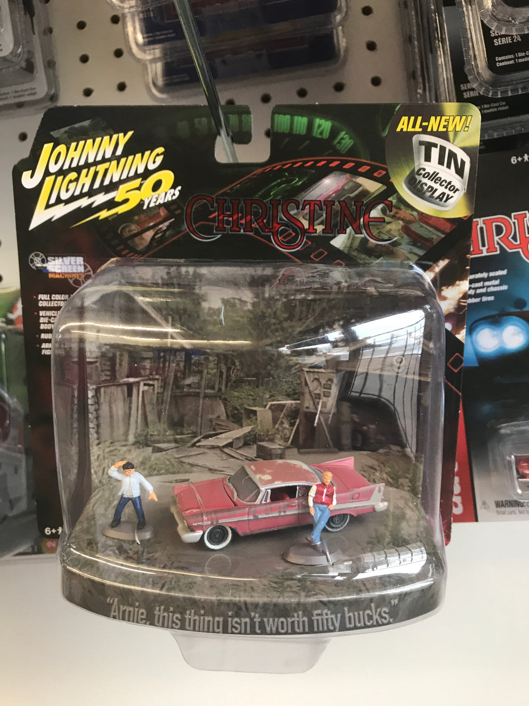 Christine 1958 Plymouth Fury with tin collector display and figured 1:64
