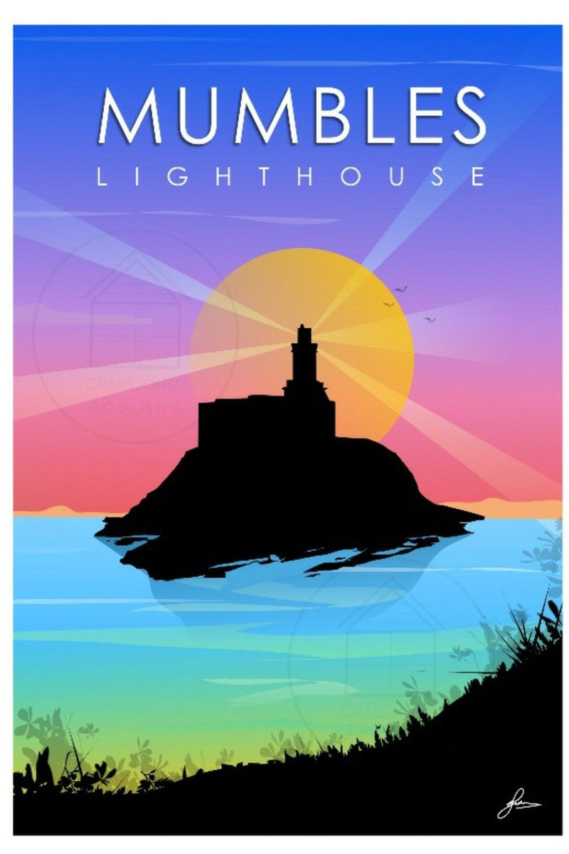 Craig Jones Greetings Card - Mumbles Lighthouse