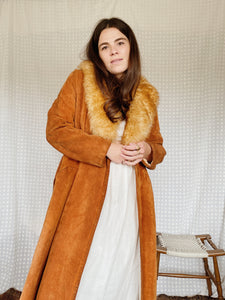 70s Suede Shearling Coat