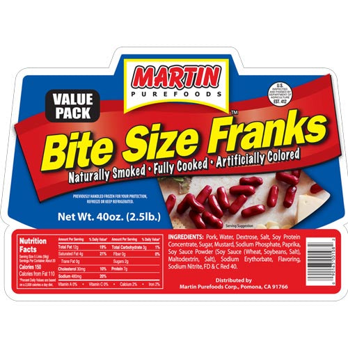 Martin Purefoods - Bite Size Franks - Value Pack - 2.5 LBS
