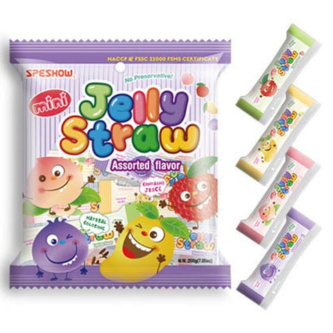 ABC - Speshow - Mini Jelly Straw - Assorted Flavor - 200 G ( PURPLE )