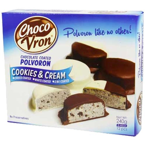 ChocoVron - Chocolate Coated Polvoron - Cookies & Cream - Choco, White, 2 in 1 Coated - 12 Pieces - 240 G