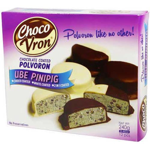 ChocoVron - Chocolate Coated Polvoron - UBE with Crisped Rice - Choco, White, 2 in 1 Coated - 12 Pieces - 240 G