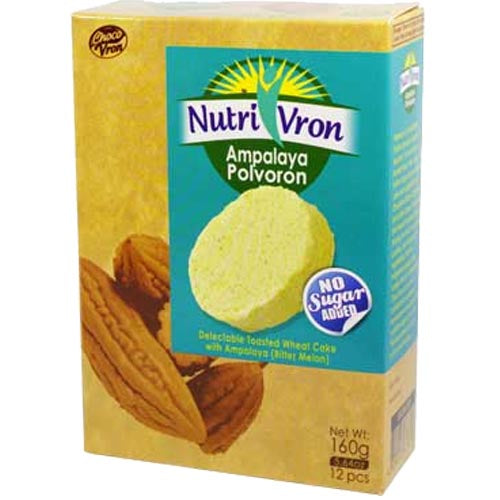 ChocoVron - NutriVron - Ampalaya Polvoron - Delectable Toasted Wheat Cake with Ampalaya (Bitter Melon) - 12 PCS - 160 G