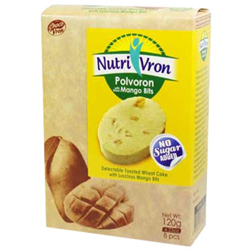 ChocoVron - NutriVron - Polvoron with Dried Mango Bits - Delectable Toasted Wheat Cake with Luscious Mango Bits - 8 PCS - 120 G
