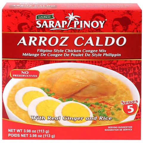 Galinco -Sarap Pinoy - Arroz Caldo - Filipino Style Chicken Congee Mix - Serves 5 - 113 G