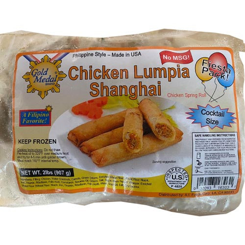 Gold Medal - Chicken Lumpia Shanghai - Chicken Spring Roll - Fiesta Pack - Cocktail Size - 2 LBS
