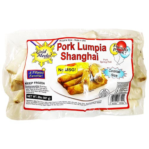Gold Medal - Pork Lumpia Shanghai - Pork Spring Roll - Fiesta Pack - Cocktail Size - 2 LBS
