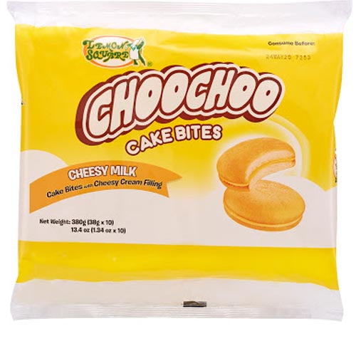 Lemon Square - ChooChoo Cake Bites - Cheesy Milk - Cake Bites with Cheesy Cream Filling - 10 Pack - 380 G