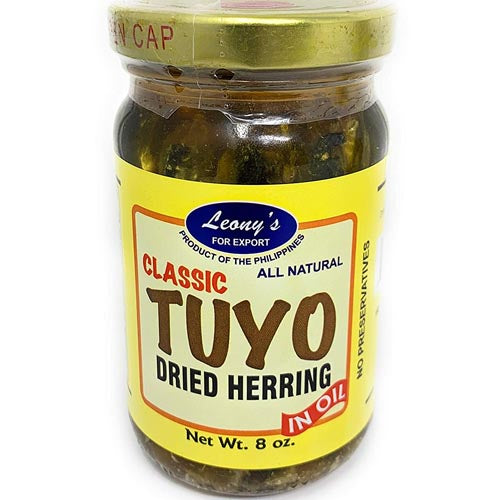 Leony's - Classic Tuyo Dried Herring in Oil (Bottled) All Natural - 8 OZ