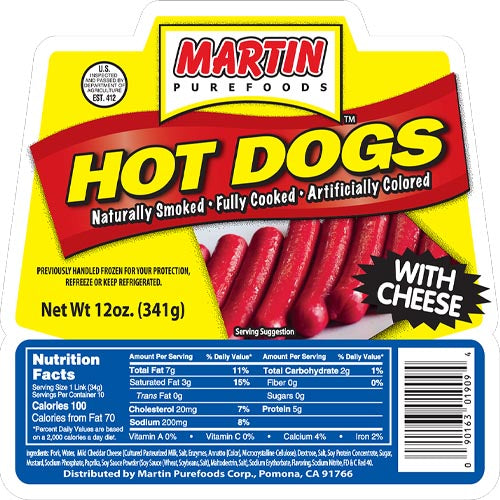 Martin Purefoods - Hot Dogs with Cheese - 12 OZ