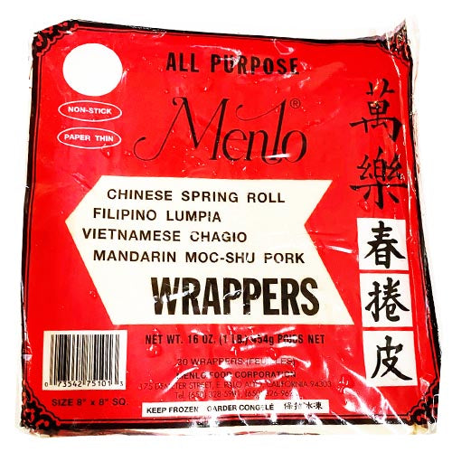 Menlo - All Purpose Lumpia / Spring Roll Wrappers (Non Stick / Paper Thin) -30 Wrappers - 16 OZ