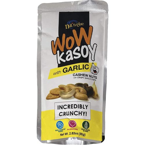 Nut n Else - WoW Kasoy with Garlic - Cashew Nuts with Crispy Garlic Chips - Incredibly Crunchy! - 80 G