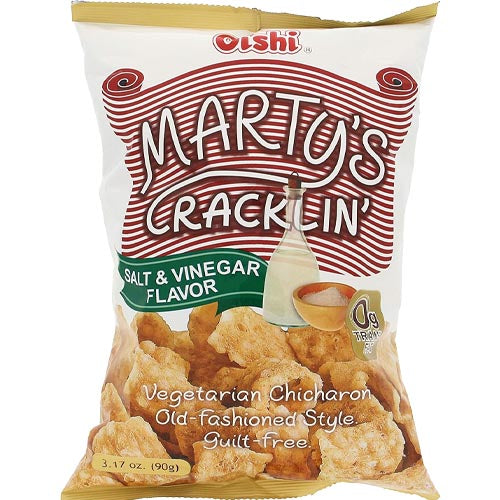 Oishi - Marty's Cracklin - Salt & Vinegar Flavor - Vegetarian Chicharon - Old Fashioned Style - 90 G