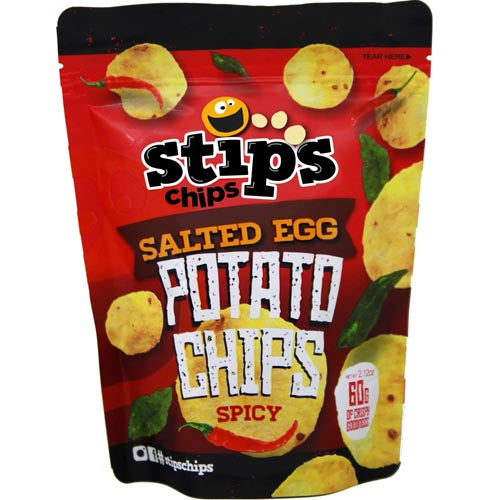 Stips Chips - Salted Egg - Potato Chips Spicy - 60 G