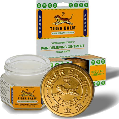 Tiger Balm - White Regular Strength - Pain Relieving Ointment - Concentrated - .63 OZ