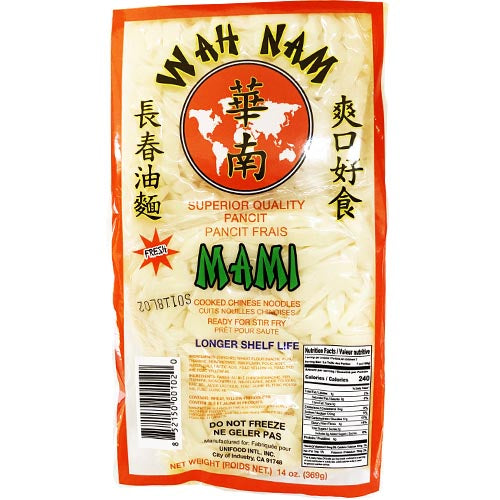 Wah Nam - Fresh Mami - Superior Quality Pancit - Cooked Chinese Noodles- Ready for Stir Fry -14 OZ