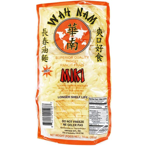 Wah Nam - Fresh Miki- Superior Quality Pancit - Cooked Chinese Noodles- Ready for Stir Fry -14 OZ