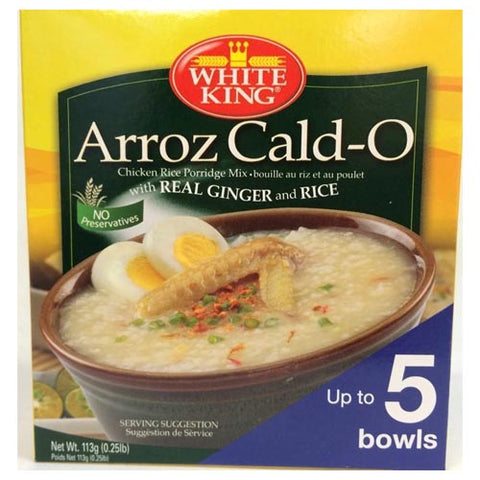 White King - ArrozCald-O - Chicken Rice Porridge Mix with Real Ginger and Rice Arroz Caldo - Up to 5 Bowls - 113 G