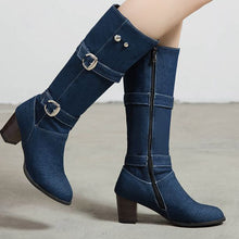 Load image into Gallery viewer, Jean Boots Women's Long Tube Boot Winter High Heel Denim Boot Lady Stylish Jeans Boots Buckle Strap Shoes