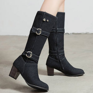 Jean Boots Women's Long Tube Boot Winter High Heel Denim Boot Lady Stylish Jeans Boots Buckle Strap Shoes