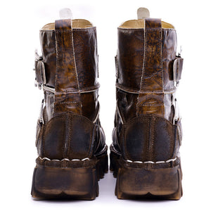 Men's Vintage Genuine Leather Ankle Boots with Skull