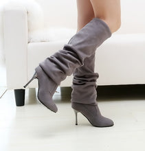 Load image into Gallery viewer, Women Nubuck Leather sexy over the Knee Stovepipe long boots